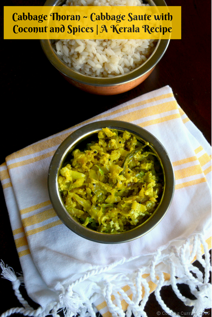 Cababge Thoran - Cabbage Saute with Coconut and Spices - A Kerala Recipe for Sadya - Mirch Masala