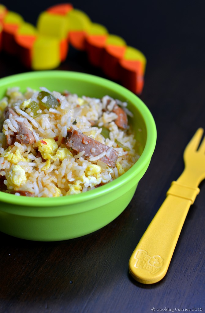 Sausage and Egg Fried Rice - Toddler Kid Friendly Food - #cookingcurrieslittlepeoplefood - Cooking Curries