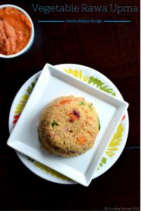 Vegetable Rawa / Rava Upma ~ Semolina Breakfast Porridge
