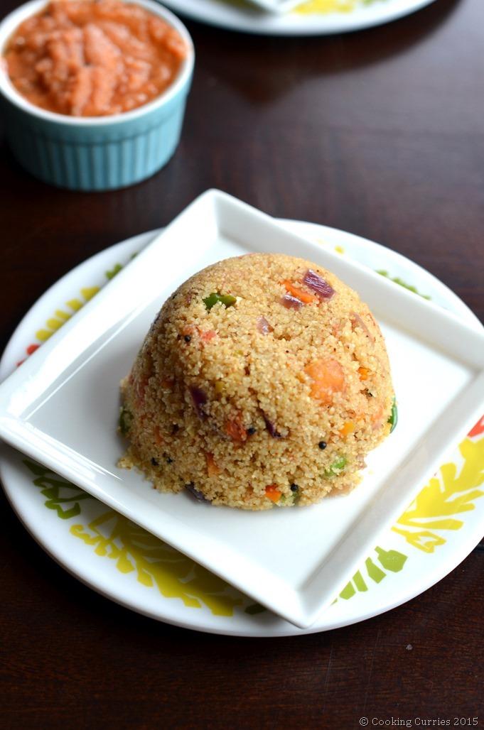 Vegetable Rawa Upma - Semolina Breakfast Porridge - South Indian Breakfast Recipe - Cooking Curries
