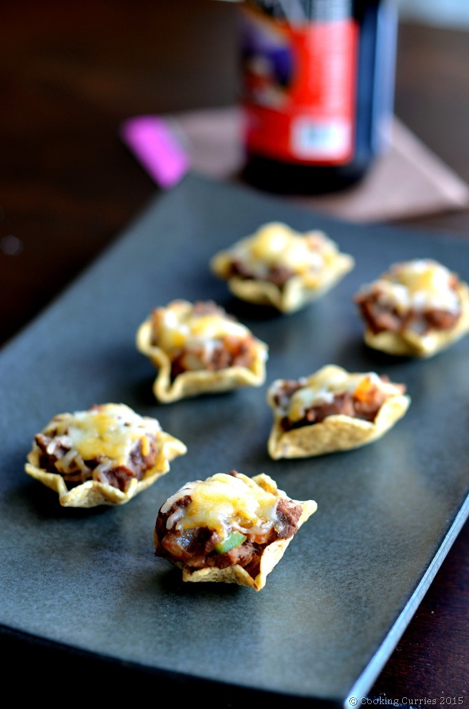 Vegetarian Nacho Cups -Superbowl Gameday Snack - Cooking Curries