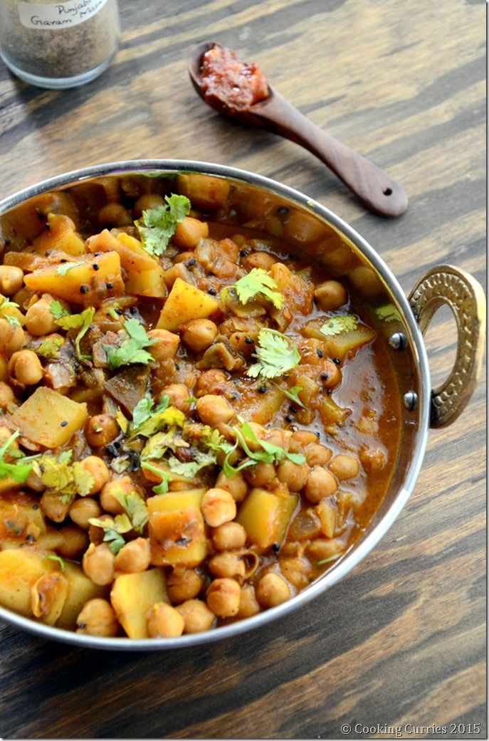 Achari Aloo Chole - Potatoa dn Garbanzo Bean Curry with Pickling Spices - Mirch Masala