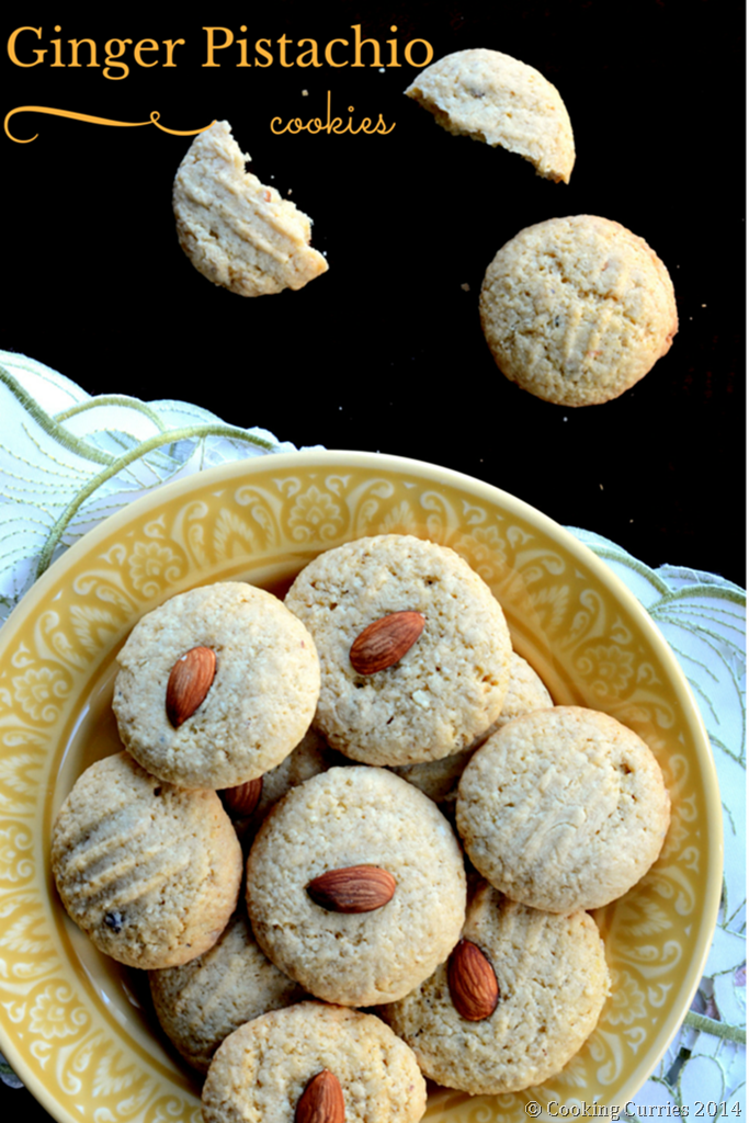 Ginger Pistachio Cookies with Almond Meal - Holiday Cookies - MIrch Masala