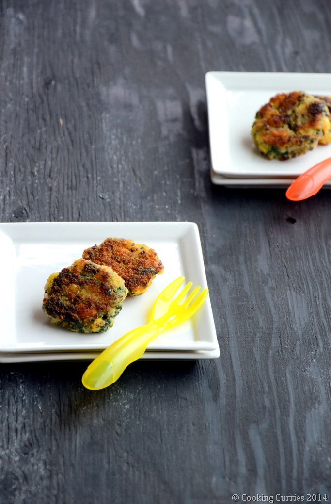 Spinach, Rice and Corn Patties - Mirch Masala - Toddler Food Recipe (4)