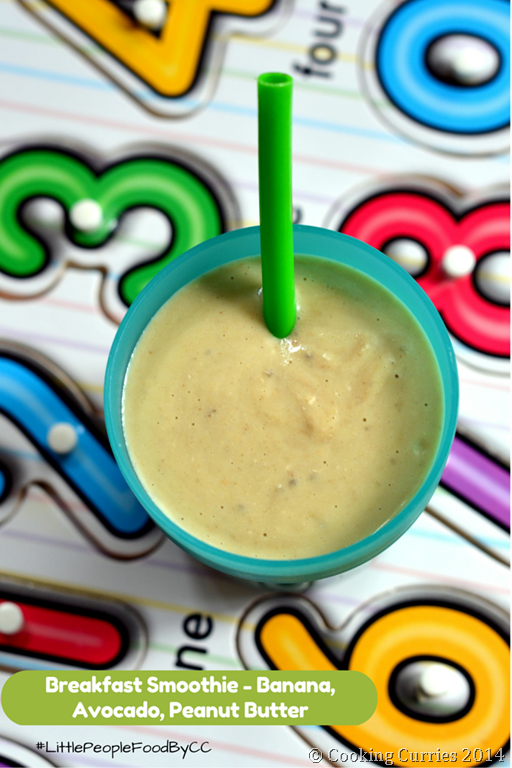 LITTLE PEOPLE FOOD ~ BREAKFAST SMOOTHIE with Banana, Avocado and Peanut Butter -Vegan Friendly