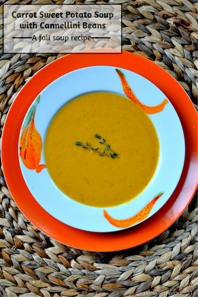 Carrot Sweet Potato Soup with Cannellini Beans - Vegetarian , Fall Recipe, Soups, Thanksgiving - Cooking Curries