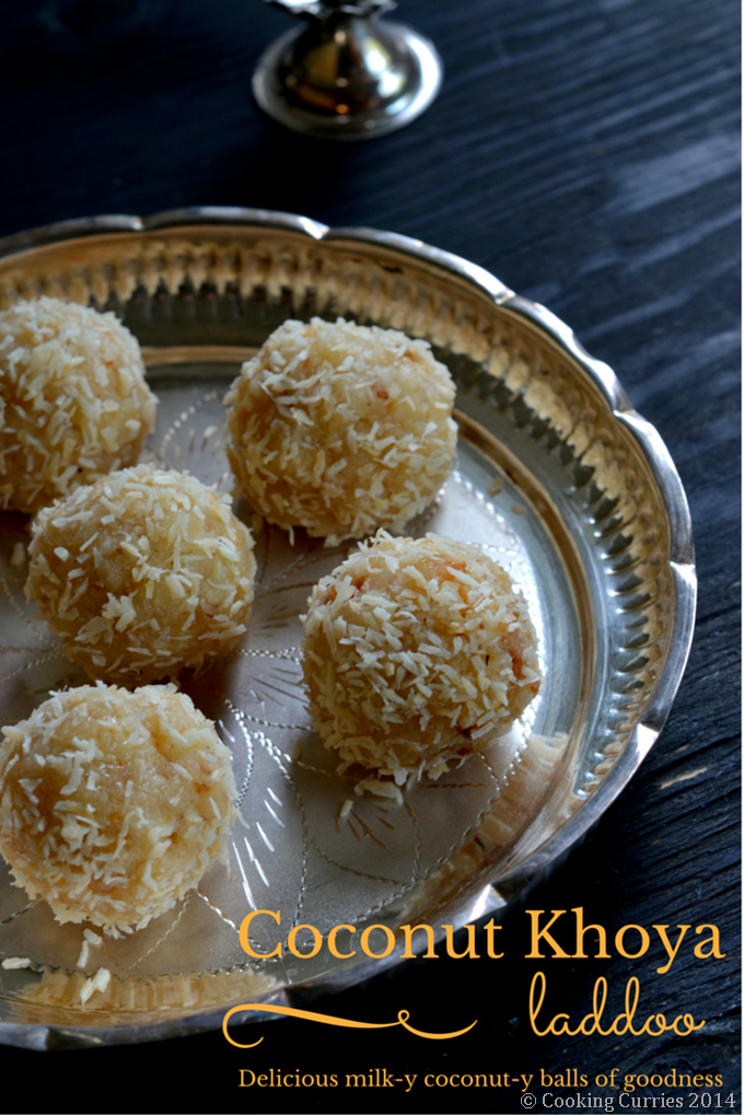 Coconut Khoya Laddoo- Coconut Condensed Milk Solids Balls - Indian Food, Recipe, Dessert, Festivals, Diwali, Diwali Sweet recipe - Cooking Curries -