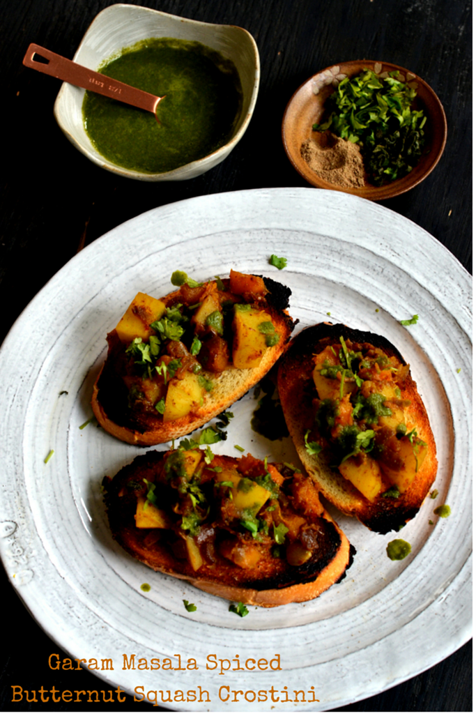 GAram MAsala SPiced BUtternut Squash Crostini - Cooking Curries