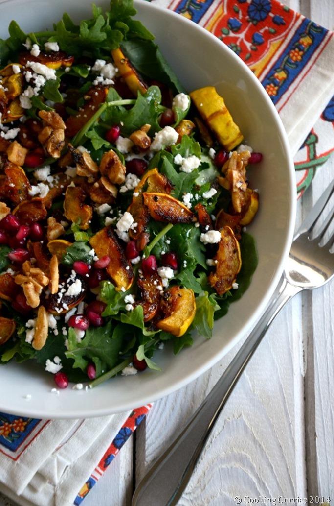 Roasted Squash and Kale Salad - Fall Thanksgiving Salad Recipe - Mirch Masala