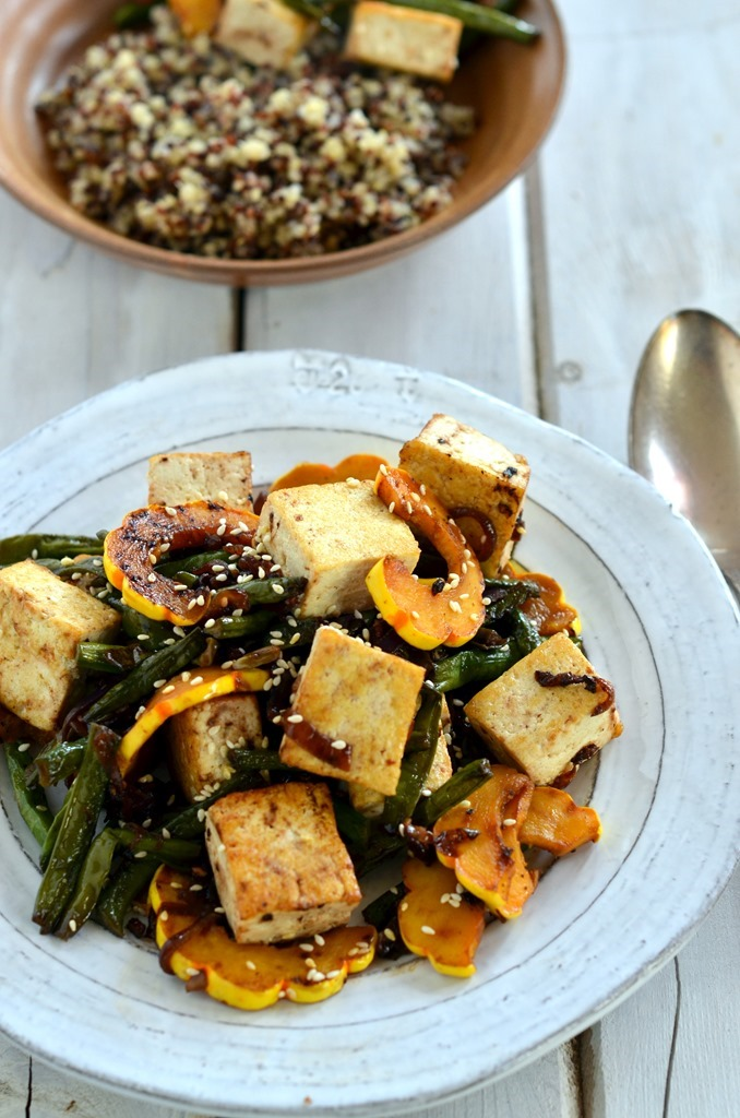 Long Beans and Delicata Squash Stir Fry with Tofu - Vegetarian Vegan Gluten Free Stir Fry Recipe - Cooking Curries (3)