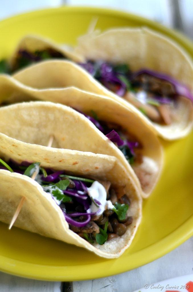 Green Lentils and Maitake Mushrooms Tacos - Gluten Free, Vegetarian - Cooking Curries (2)