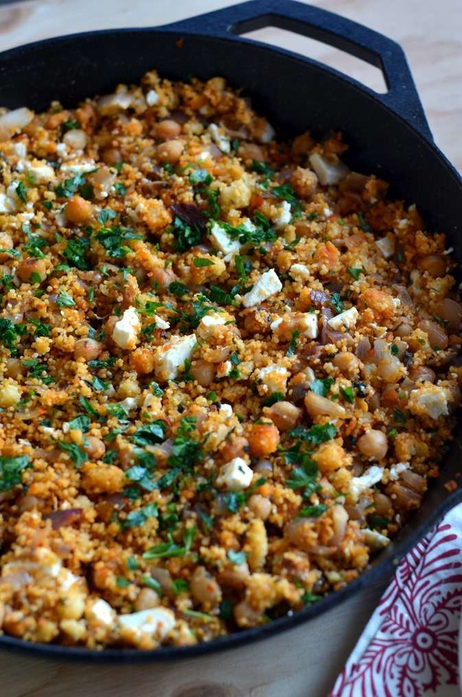 Skillet Harissa Couscous with Chickpeas, Spinach and Feta - Cooking Curries (2)