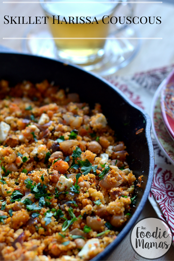 Skillet-Harissa-Couscous-with-Chickpeas-Spinach-and-Feta-Cooking ...