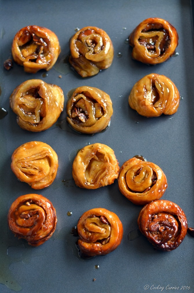 Easy Banana Pecan Sticky Buns with Cardamom CookingCurries.com