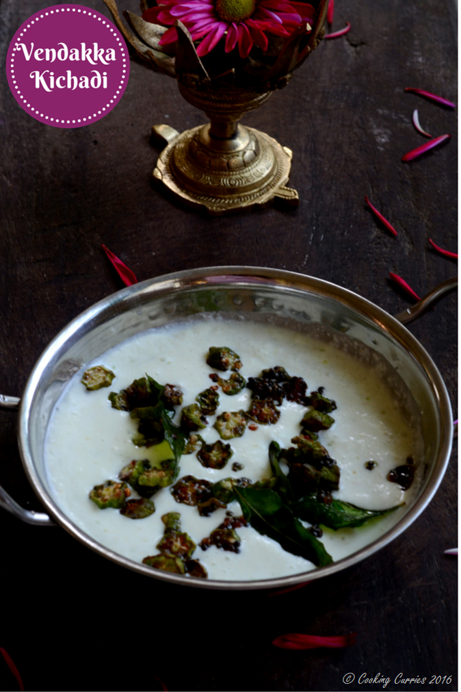 Vendakka Kichadi - Fried Okra in a Coconut Yogurt Sauce Base - Indian Food, Kerala Sadya Recipe, Vishu Sadya, ONam Sadya - Mirch Masala