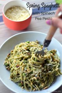 Spring Spaghetti with Spinach Pea Pesto