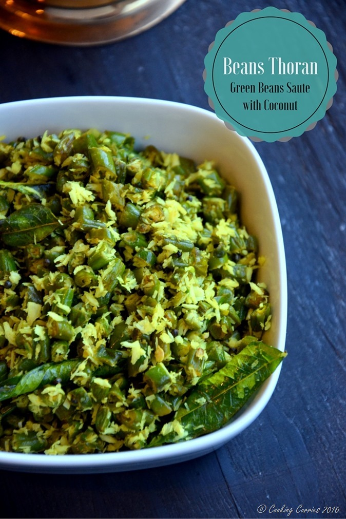 Beans Thoran - Green Beans Saute with Coconut - Kerala Sadya Recipe - Vegan , Gluten Free - www.cookingcurries.com