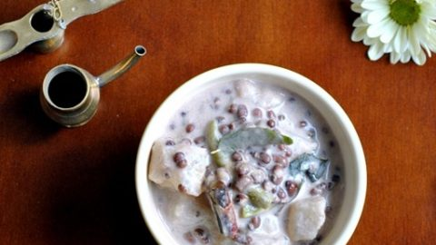 Olan - Winter Melon and Red Beans Curry in Coconut Milk - A Kerala Sadya Recipe - Vegan, Vegetarian - www.cookingcurries.com