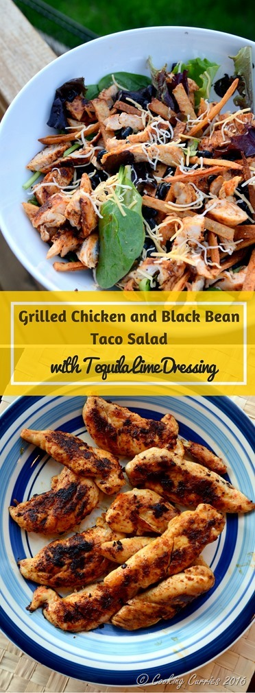 Grilled Chicken and Black Bean Taco Salad with Tequila Lime Dressing - www.cookingcurries.com (2)