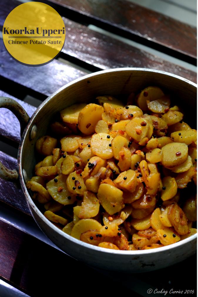 Koorka Upperi, Cheema Kizhangu Upperi, Chinese Potato Saute - Vegetarian, Vegan, Indian recipe - www.cookingcurries.com