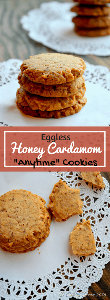 Eggless Honey Cardamom Anytime Cookies - www.cookingcurries.com
