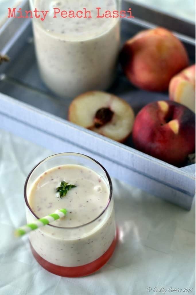 Minty Peach Lassi - Summer Refresher, Summer Drink - www.cookingcurries.com