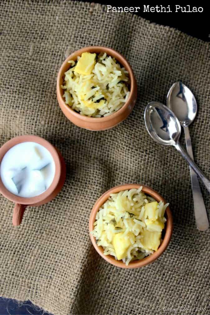 Paneer Methi Pulao - Vegetarian , Gluten Free - Indian Recipe - www.cookingcurries.com