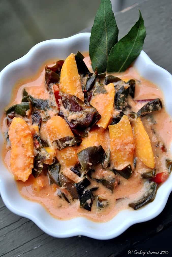 Cheera Chakkakuru Avial - Amaranth Jackfruit Seeds in a Spiced Coconut Sauce - Kerala Onam Vishu Sadya - www.cookingcuries.com (3)