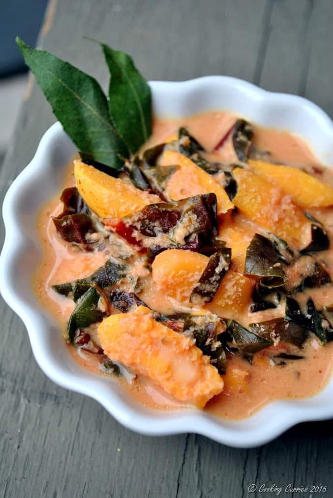 Cheera Chakkakuru Avial - Amaranth Jackfruit Seeds in a Spiced Coconut Sauce - Kerala Onam Vishu Sadya - www.cookingcuries.com (2)
