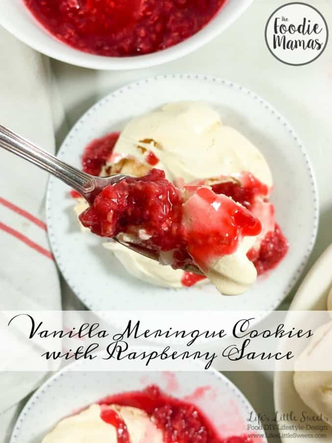 Vanilla Meringue Cookies with Raspberry Sauce www.LifesLittleSweets.com pavlovas agave lemon honey macerated fresh raspberries 680x907 hero with text