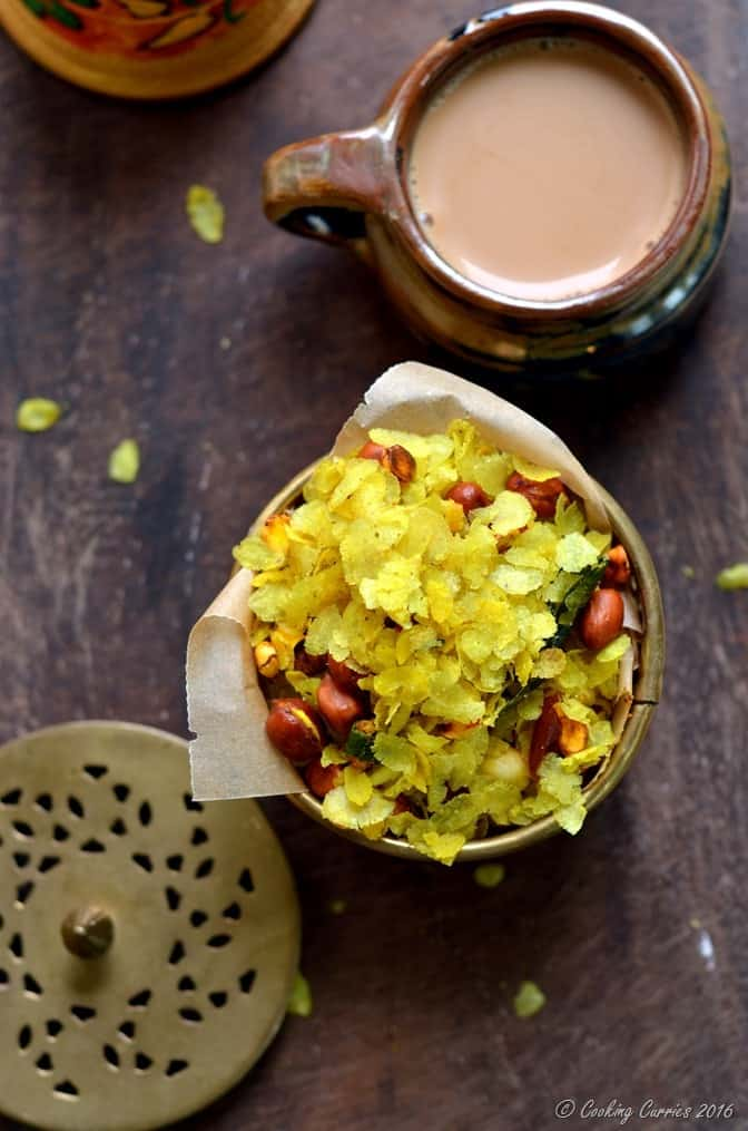 Chivda -Chiwda - Savory Beaten Rice Flakes with Peanuts - Indian Festival Recipes - Diwali Recipes - www.cookingcurries.com (2)