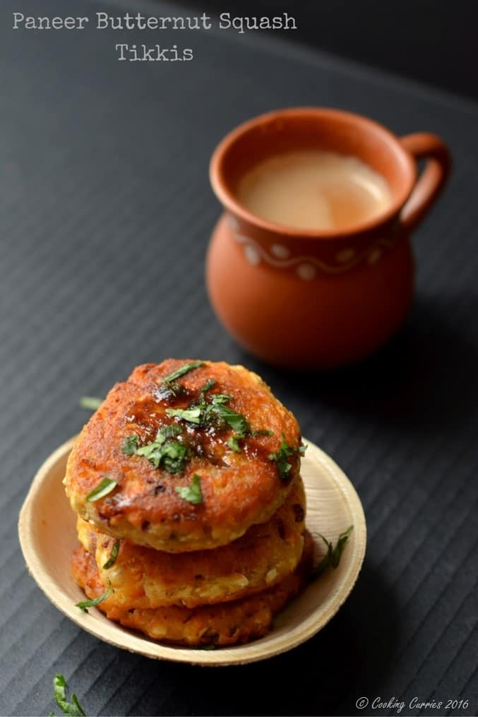 Paneer Butternut Squash Tikkis - Appetizers - Indian Food - Vegetarian - www.cookingcurries.com