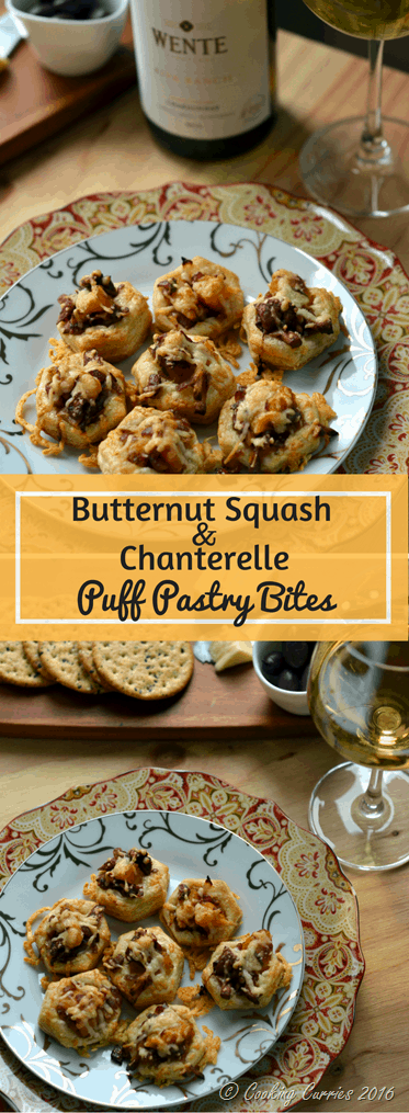 Butternut Squash and Chanterelle Puff Pastry Bites - Holiday Entertaining Food and Wine Pairing with Wente Vineyards Chardonnay