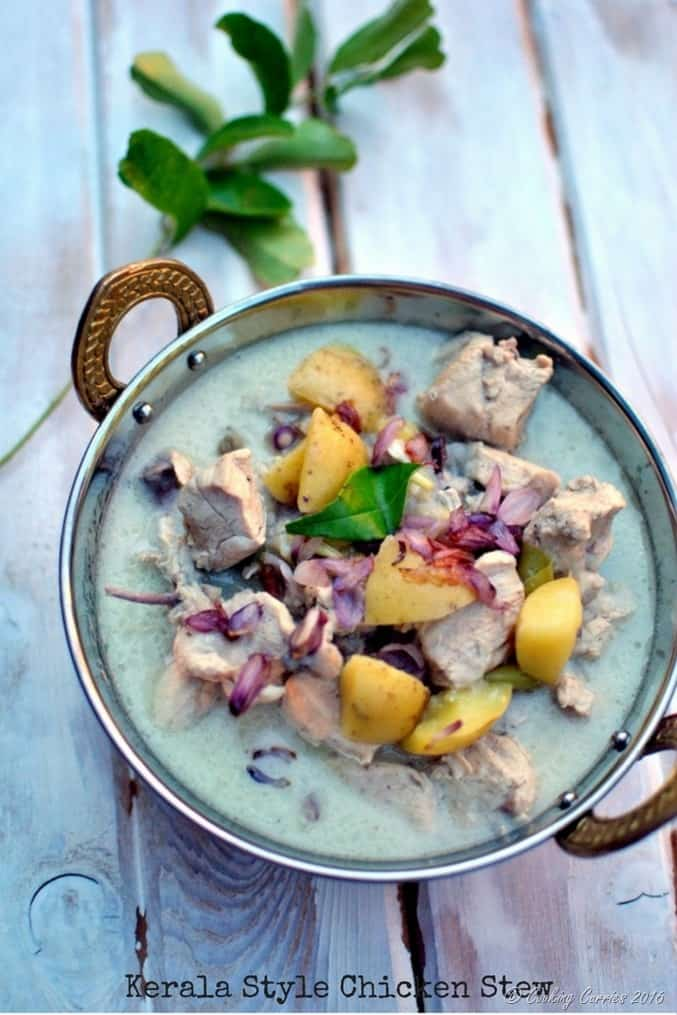 Kerala Style Chicken Stew in Coconut Milk - Chicken Ishtoo -www.cookingcurries.com