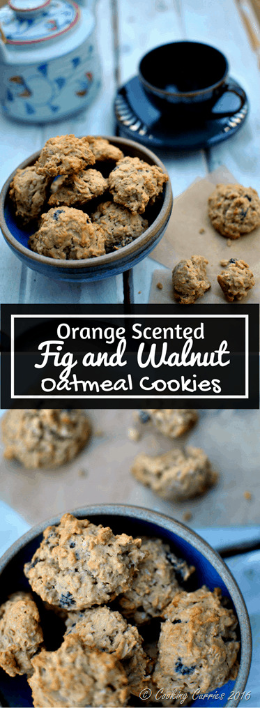 Orange Scented Fig and Walnut Oatmeal Cookies