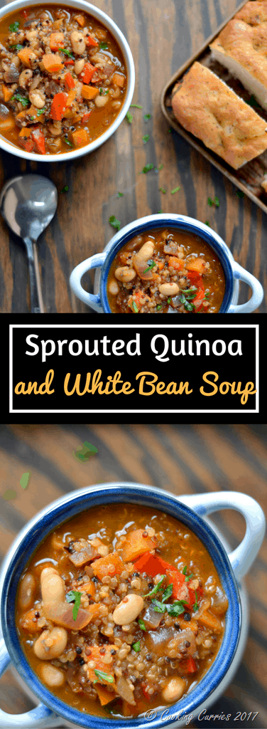 Sprouted Quinoa and White Bean Soup