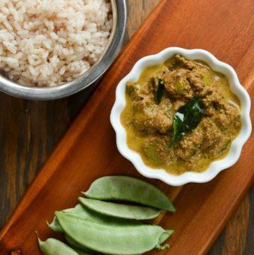 Avarakka Theeyal - Broad Beans in a Spiced Coconut Tamarind Sauce