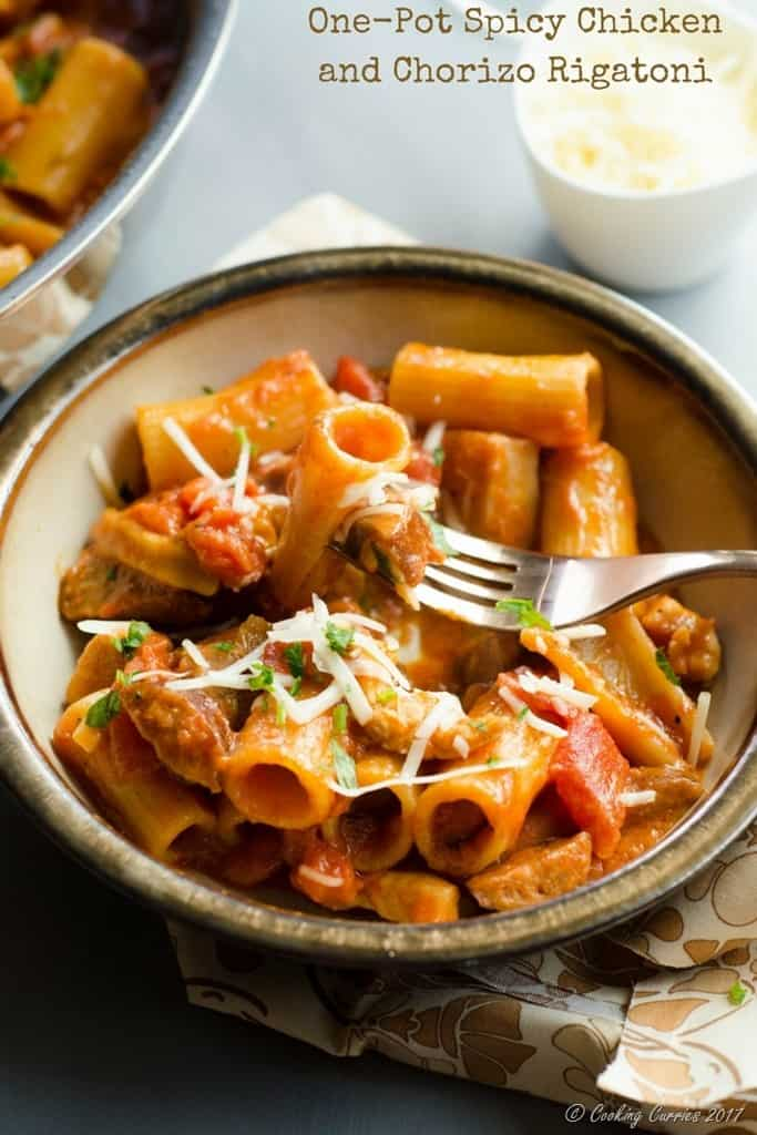 One-Pot Spicy Chicken and Chorizo Rigatoni