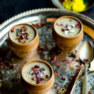Thandai Phirni with Brown Rice | Spiced Brown Rice Pudding - Cooking Curries