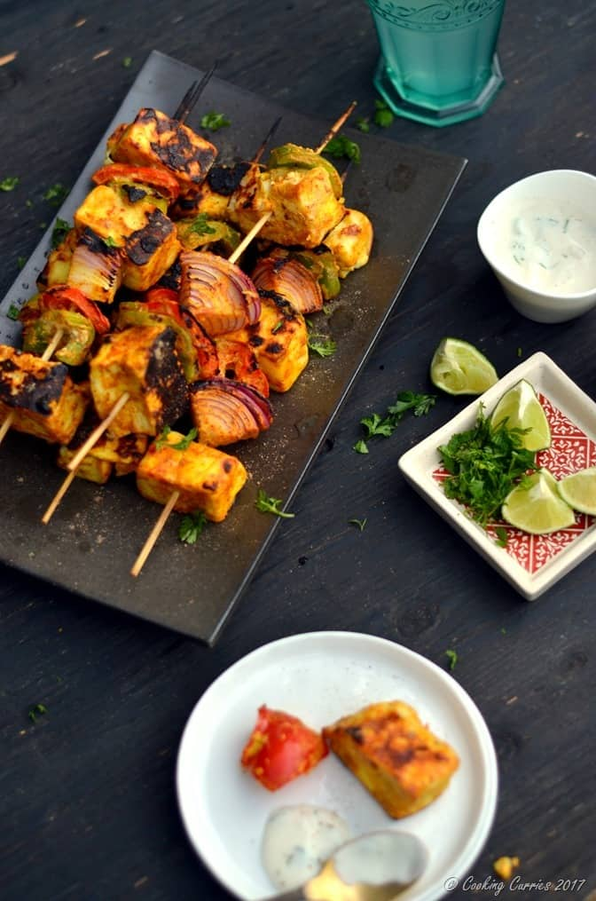 Paneer Tikka - Grilled Paneer and Vegetable Skewers - Cooking Curries (2)