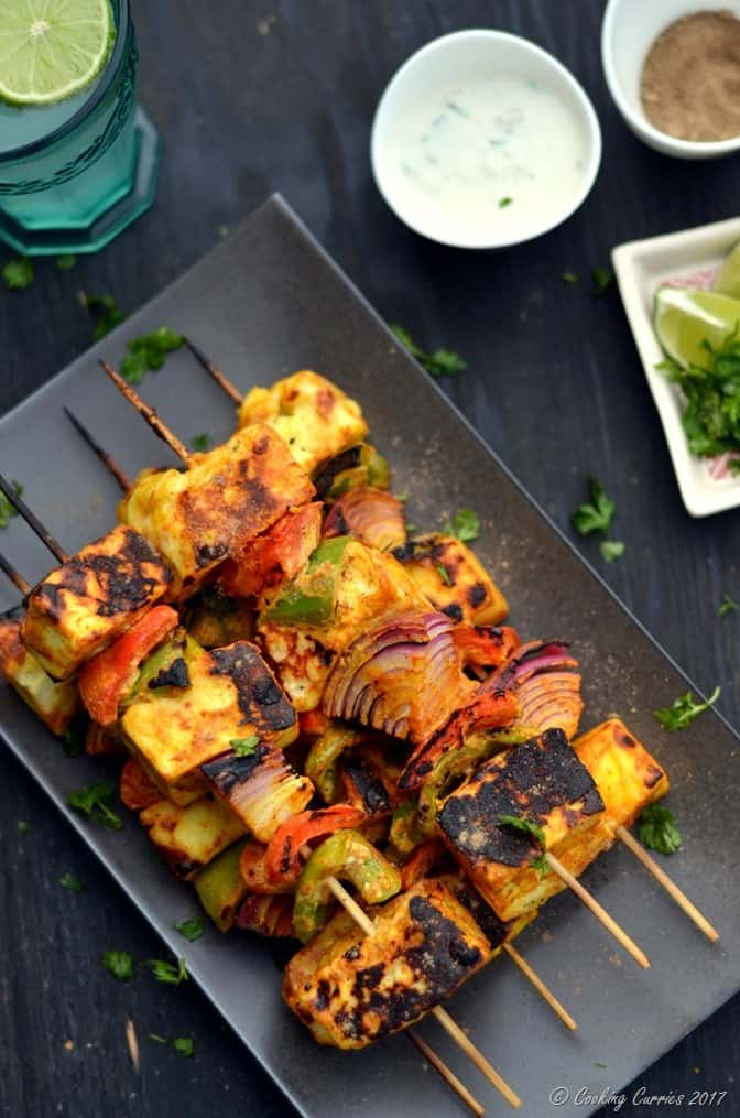 Paneer Tikka - Grilled Paneer and Vegetable Skewers - Cooking Curries (4)