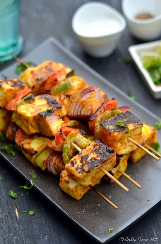 Paneer Tikka - Grilled Paneer and Vegetable Skewers - Cooking Curries (5)
