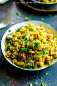 Spinach Chickpeas Brown Rice Pulao