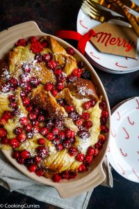 Cranberry French Toast in a casserole dish