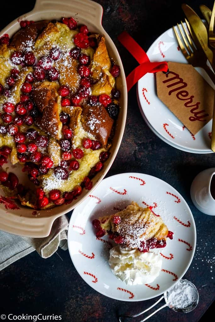 Spiced Maple Cranberry French Toast Bake - Christmas Day Breakfast - Holiday Morning Breakfast - Breakfast for a crowd
