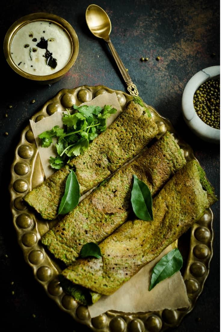 Spinach Pesarattu - Gluten Free Spinach Mung Bean Crepes