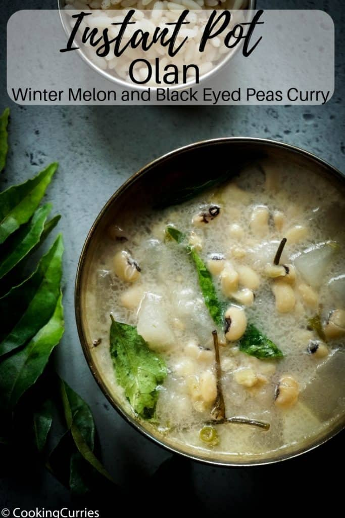 Instant Pot Olan - Winter Melon and Black Eyed Peas Curry with Coconut Milk