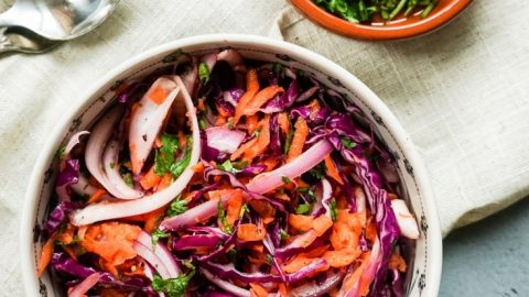 Easy and Simple Purple Cabbage Coleslaw for Tacos