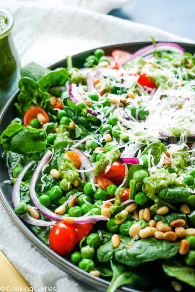 Spinach and Pea Salad with Fresh Basil Walnut Pesto