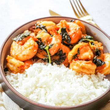Thai Basil Shrimp and White Rice in a bowl